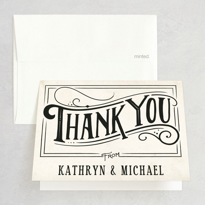 """""""Inked"""" - Hand Drawn, Bold typographic Thank You Cards in Parchment by GeekInk Design."""