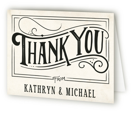 This is a landscape bold typographic, hand drawn, vintage, beige, black Wedding Thank You Cards by GeekInk Design called Inked with Standard printing on Standard Cover in Card fold over (blank inside) format.