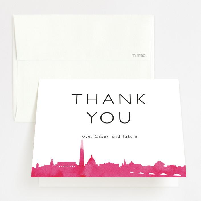 """Skyline - Washington DC"" - Modern Folded Thank You Card in Magenta by Laura Condouris."