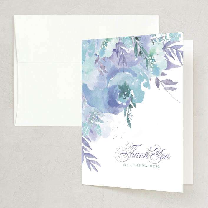 """""""Big Blooms"""" - Folded Thank You Card in Dew by Grace Kreinbrink."""