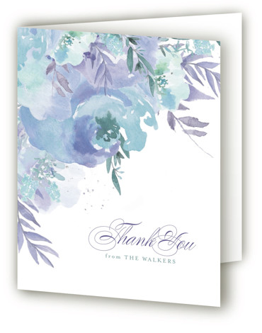 This is a portrait botanical, painterly, blue, purple, green Wedding Thank You Cards by Grace Kreinbrink called Big Blooms with Standard printing on Standard Cover in Card fold over (blank inside) format. Giant, vivid hand painted watercolor blooms frame this ...
