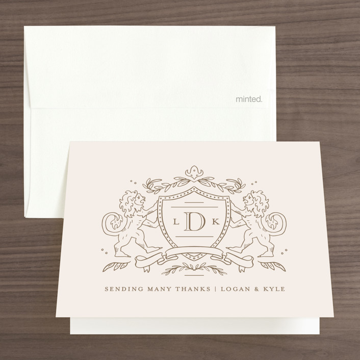 """""""Classic Crest"""" - Preppy Thank You Cards in Antique by Kristen Smith."""