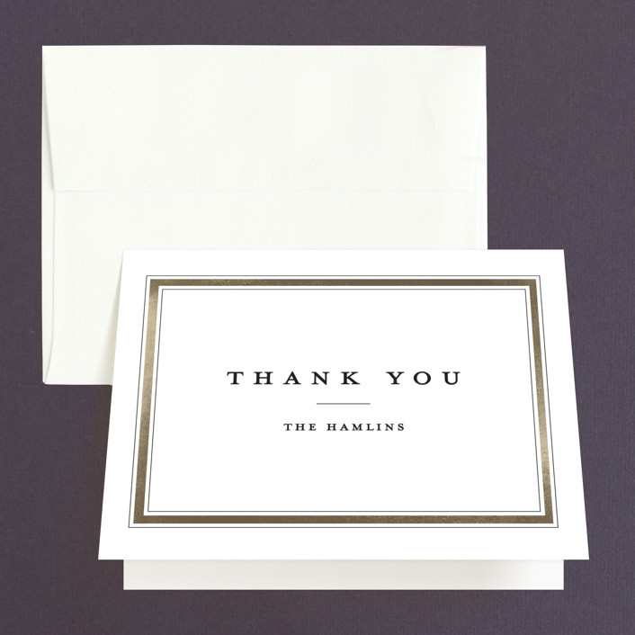 """""""Classic Label"""" - Thank You Cards in Powder by Stacey Meacham."""