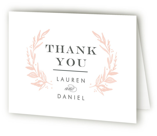 This is a landscape botanical, pink, white Wedding Thank You Cards by Alethea and Ruth called Elegant Crest with Standard printing on Standard Cover in Card fold over (blank inside) format. This wedding invite has classic type mixed with a ...