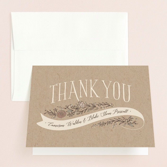 """""""Rustic Banner"""" - Rustic Thank You Cards in Kraft by Jennifer Wick."""