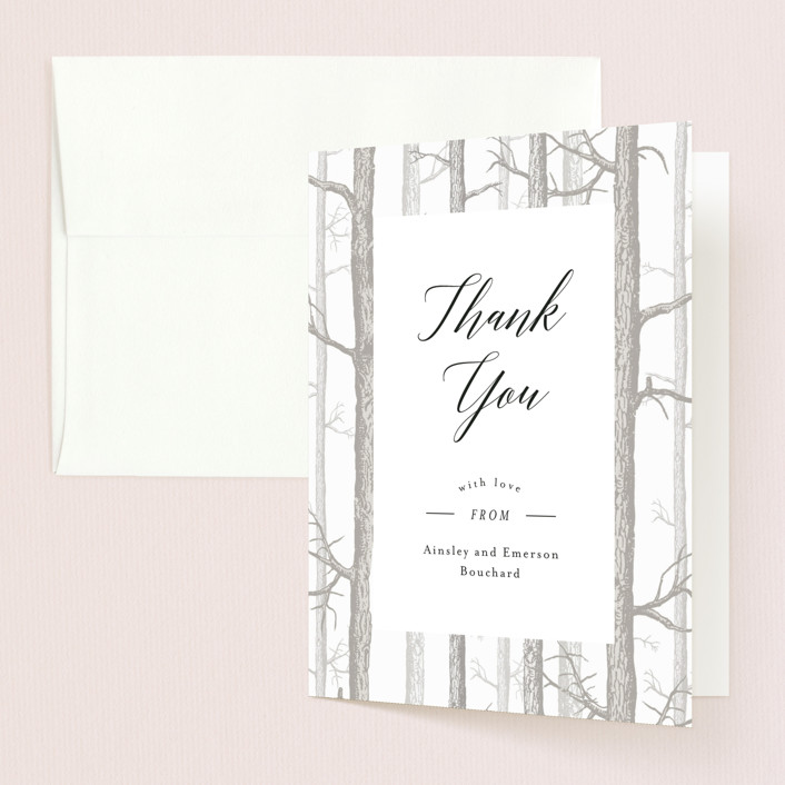 """Winter Birch"" - Rustic Thank You Cards in Taupe by Kelly Schmidt."