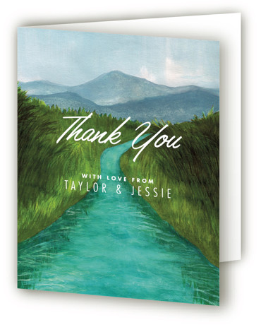 This is a portrait illustrative, painterly, rustic, green Wedding Thank You Cards by Elly called Adventure Begins with Standard printing on Standard Cover in Card fold over (blank inside) format. A painted watercolour landscape for a contemporary announcement.