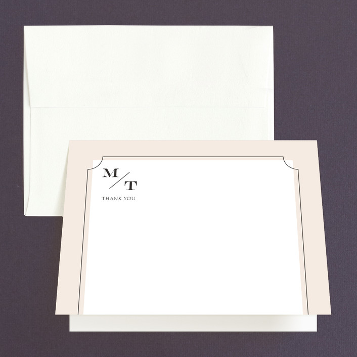 """""""Nobility"""" - Modern, Preppy Thank You Cards in Blush by Alston Wise."""
