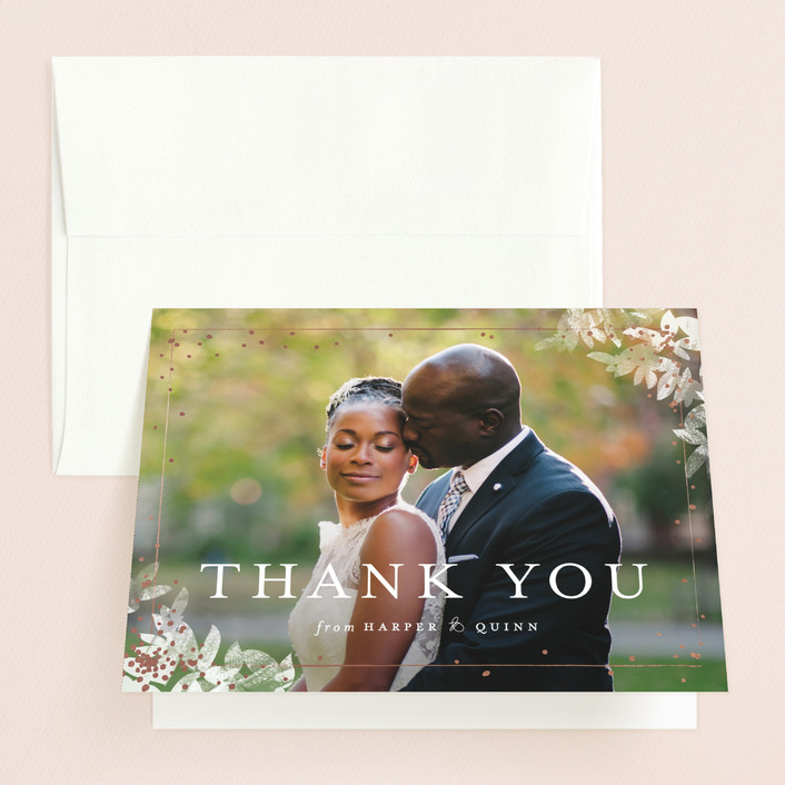 """""""Midsummer Romance"""" - Floral & Botanical Thank You Cards in Blush by Pistols."""