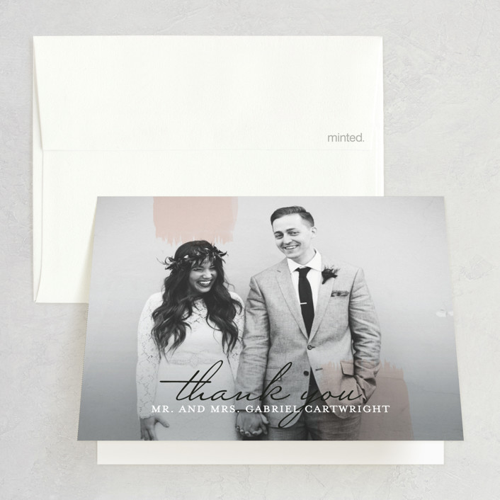 """Single Swath"" - Thank You Cards in Blush by Angela Marzuki."