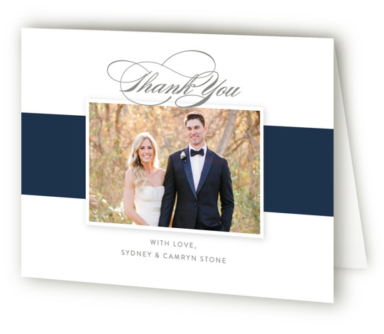This is a landscape classic and formal, blue, grey Wedding Thank You Cards by Jill Means called Fashion District with Standard printing on Standard Cover in Card fold over (blank inside) format. A fashion forward design with bold stripes and ...