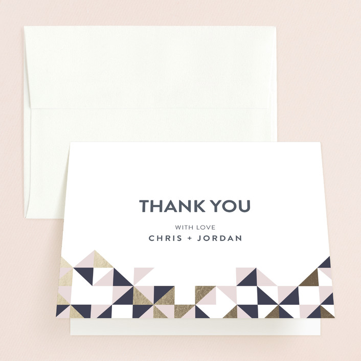 """""""Lovely Geo"""" - Thank You Cards in Midnight by Ana Sharpe."""