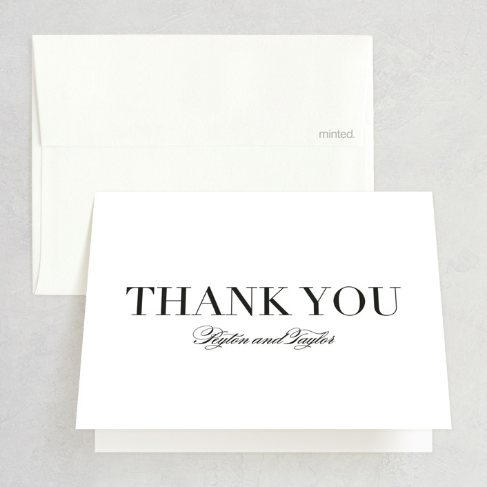 """""""Classic"""" - Folded Thank You Card in Tuxedo by Lauren Chism."""