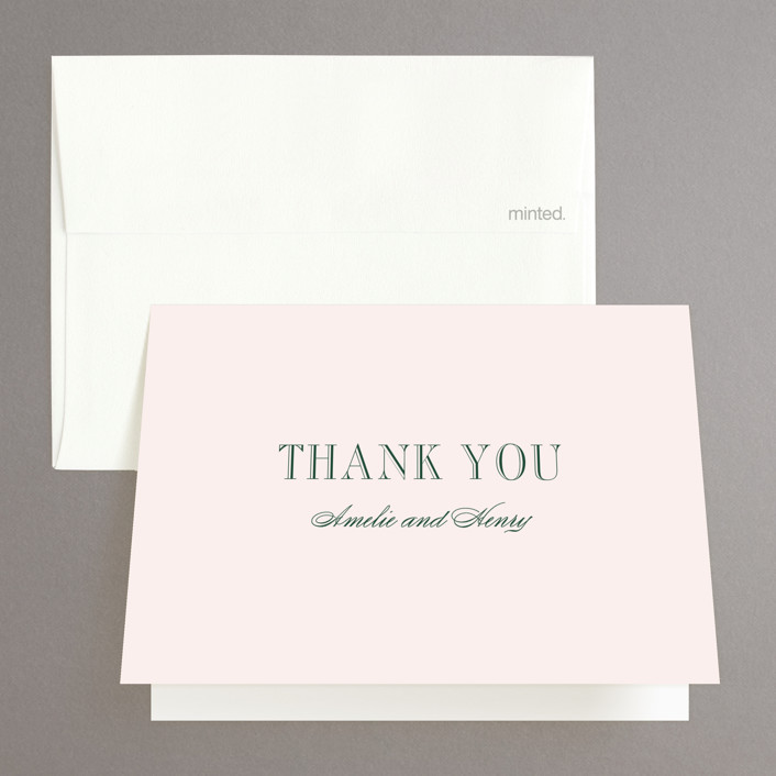 """Hepburn"" - Elegant, Classical Thank You Cards in Rose by Toast & Laurel."