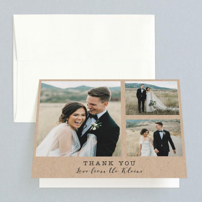 """Wedding Stamp"" - Folded Thank You Card in Kraft by Hudson Meet Rose."