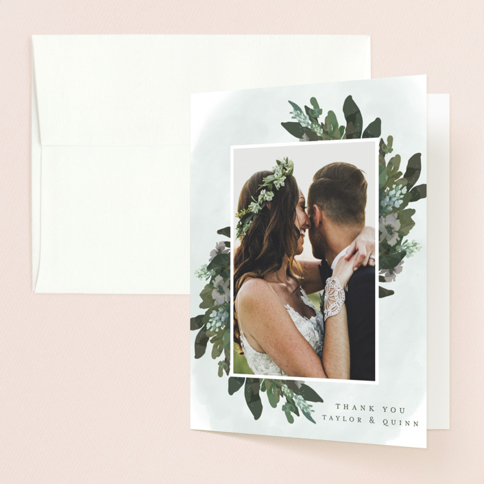 """Foliage wreath"" - Thank You Cards in Evergreen by Grace Kreinbrink."