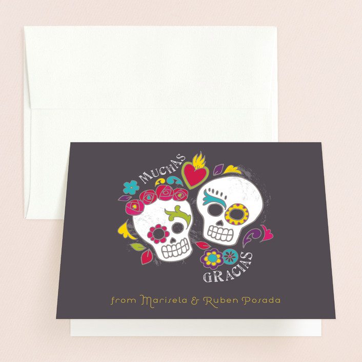"""""""Dia de los Muertos"""" - Whimsical & Funny Thank You Cards in Slate by Inky Livie."""