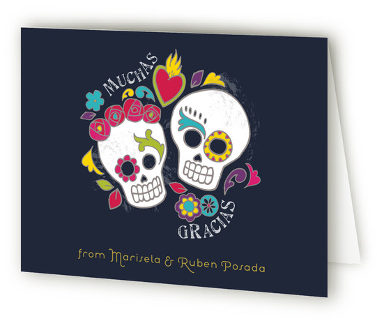 This is a landscape offbeat, whimsical, blue Wedding Thank You Cards by Inky Livie called Dia de los Muertos with Standard printing on Standard Cover in Card fold over (blank inside) format.