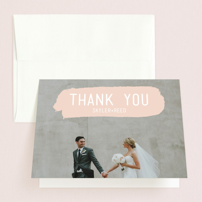 """Brush"" - Modern Thank You Cards in Carnation by Half Pint Studio."