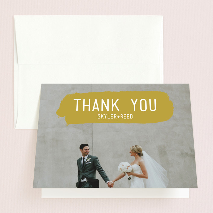 """""""Brush"""" - Modern Thank You Cards in Carnation by Half Pint Studio."""