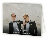 This is a black wedding thank you card by Cass Loh called Cacti with standard printing on strathmore in standard.