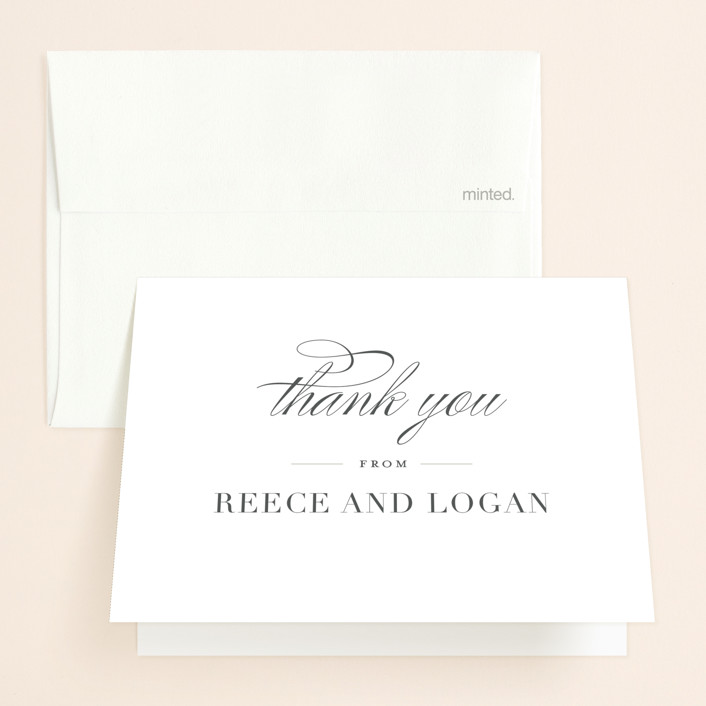 """""""Classical"""" - Folded Thank You Card in Taupe by Jessica Williams."""