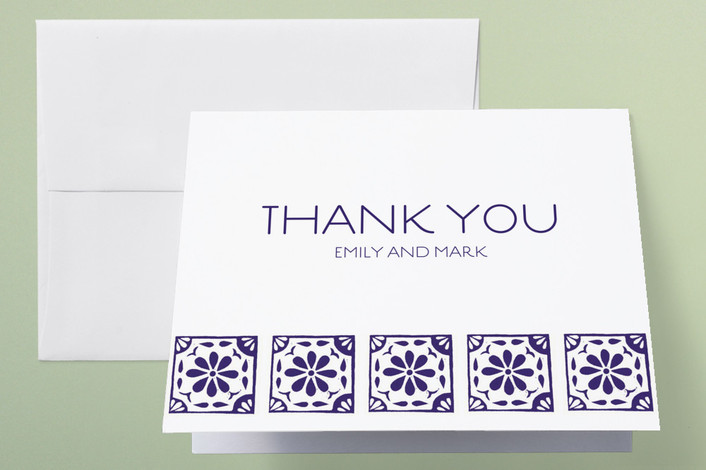 """Block Printed Tile"" - Thank You Cards in Eggplant by Katharine Watson."