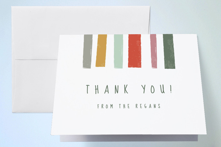 """""""Bright Stripes"""" - Thank You Cards in Cranberry by Karidy Walker."""