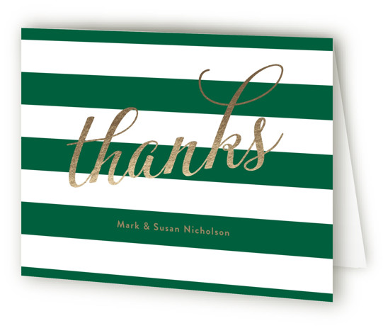 This is a landscape green, gold Wedding Thank You Cards by Sarah Brown called Shimmering Cheer with Standard printing on Standard Cover in Card fold over (blank inside) format. Share news of your upcoming cocktail party with this fun and ...