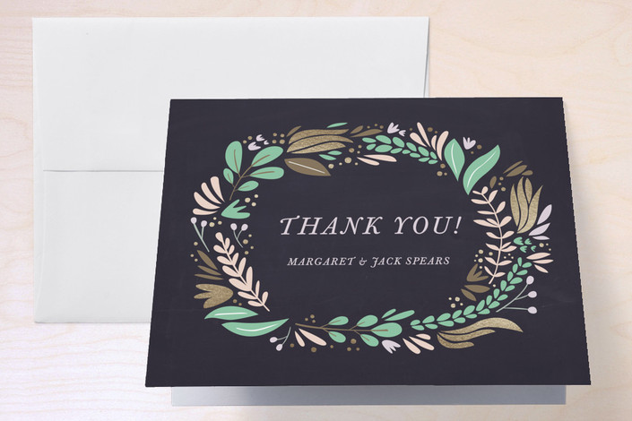 """""""Formal Florals"""" - Thank You Cards in Navy by Morgan Ramberg."""