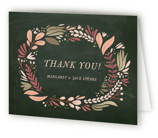 This is a landscape green Wedding Thank You Cards by Morgan Ramberg called Formal Florals with Standard printing on Standard Cover in Card fold over (blank inside) format. This Rehearsal Dinner Invitation features bold, illustrative elements and touches of foil. ...