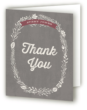 This is a portrait grey Wedding Thank You Cards by Hooray Creative called Farm To Table Dinner Party with Standard printing on Standard Cover in Card fold over (blank inside) format. A rustic dinner party invitation – great for Fall ...