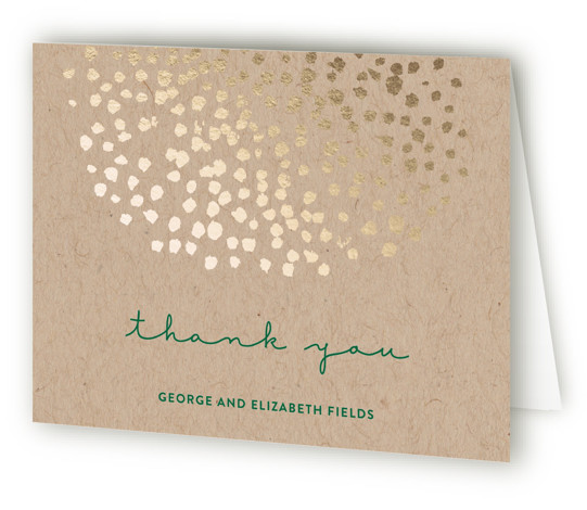 This is a landscape bohemian, green, gold Wedding Thank You Cards by Olivia Raufman called Dappled with Standard printing on Standard Cover in Card fold over (blank inside) format. A modern wedding invitation featuring painted dots in gold and clean, ...