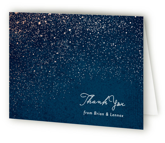 This is a landscape blue Wedding Thank You Cards by Hooray Creative called Star Dust with Standard printing on Standard Cover in Card fold over (blank inside) format. A glittering, starry sky with faux rose gold foil and a textured ...