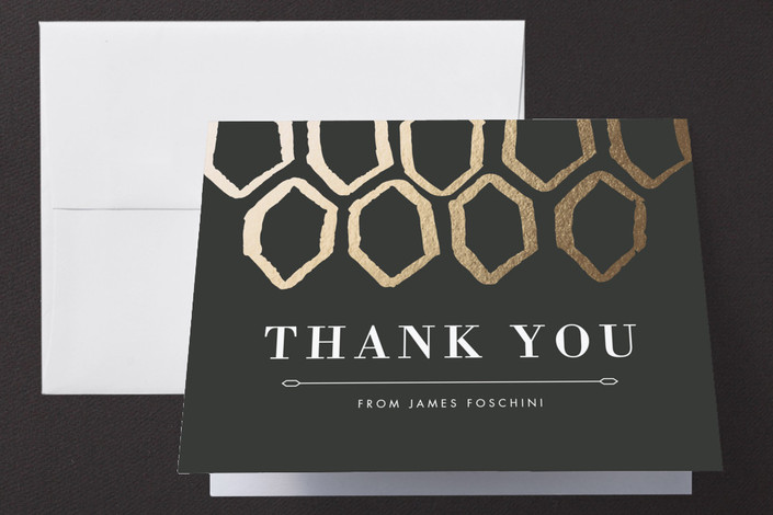 """Gold Geometry"" - Thank You Cards in Charcoal by Natalie Heisterkamp."