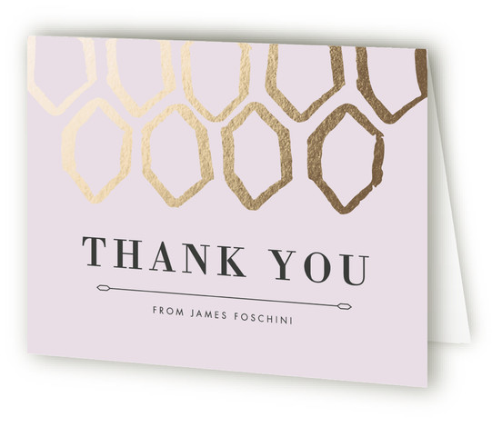 This is a landscape purple Wedding Thank You Cards by Natalie Heisterkamp called Gold Geometry with Standard printing on Standard Cover in Card fold over (blank inside) format. This geometric inspired invite blends traditional elegance with a modern flair.