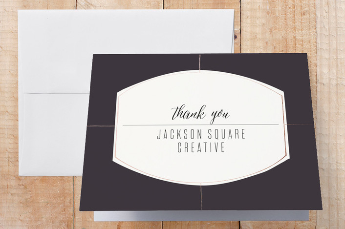 """""""Elegant Lines"""" - Thank You Cards in Mauve by Phrosne Ras."""