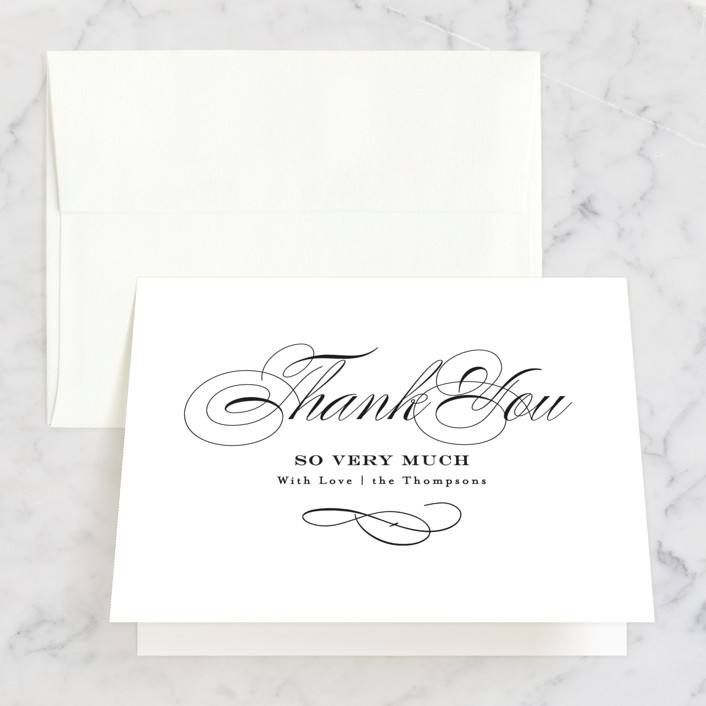 """Timeless Elegance"" - Thank You Cards in Black Night by AK Graphics."