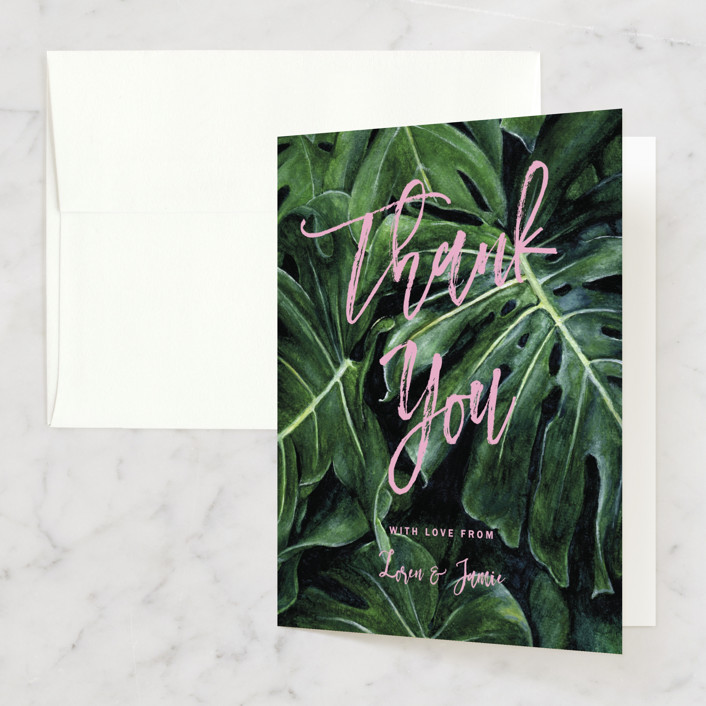 """""""Paradise"""" - Thank You Cards in Carnation by Elly."""