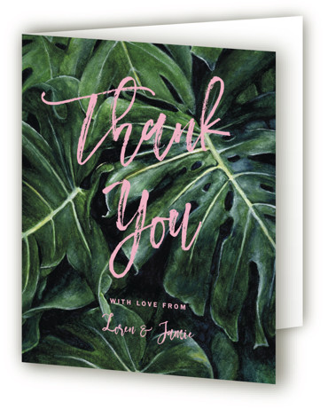 This is a portrait pink, geen Wedding Thank You Cards by Elly called Paradise with Standard printing on Standard Cover in Card fold over (blank inside) format. A tropical palm tree leaves painted with watercolour for a fun and contemporary ...