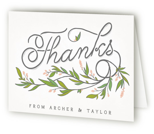 This is a landscape white, pink, green Wedding Thank You Cards by GeekInk Design called Rustic Love with Standard printing on Standard Cover in Card fold over (blank inside) format. A rustic styled wedding invite featuring a beautiful script font ...