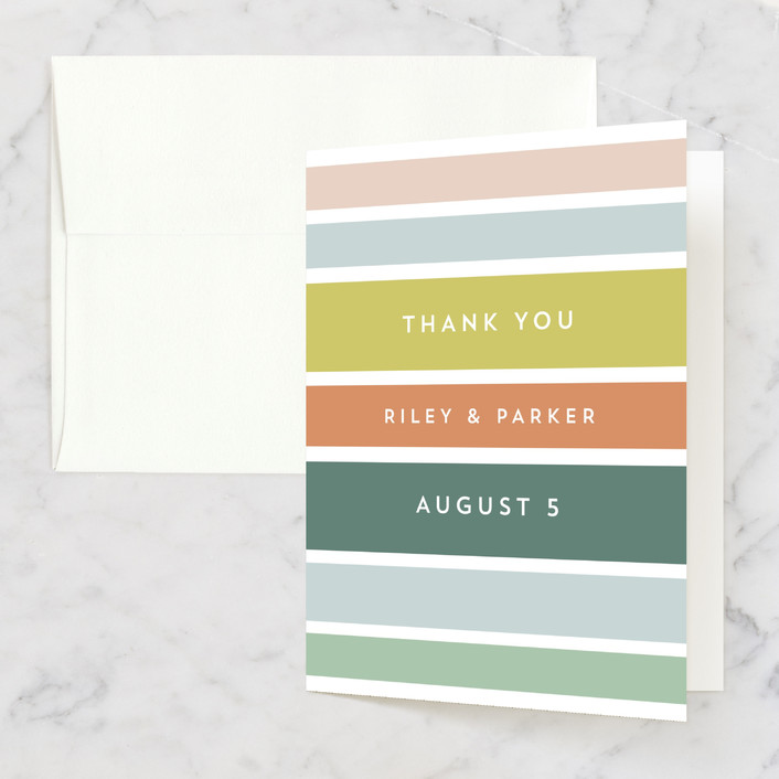 """""""Beach Stripe"""" - Thank You Cards in Popsicle by Katharine Watson."""