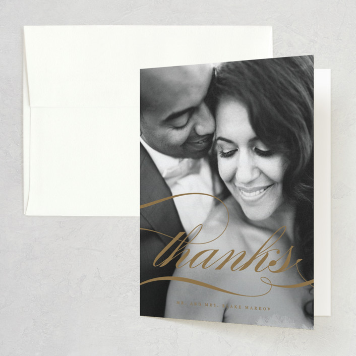 """""""divine"""" - Folded Thank You Card in Gilded Gold by Jennifer Postorino."""