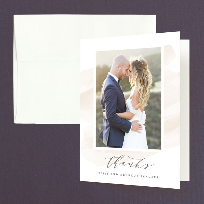 """Sophisticated script"" - Thank You Cards in Blush by Hooray Creative."