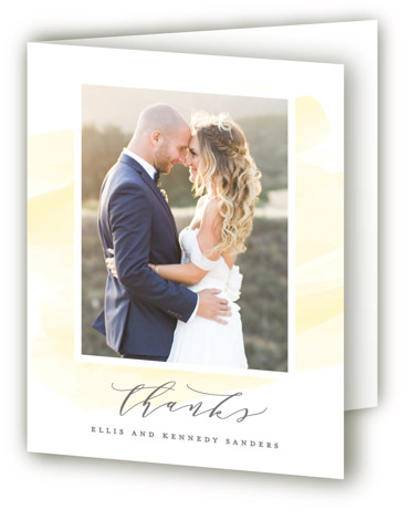 This is a portrait yellow Wedding Thank You Cards by Hooray Creative called Sophisticated script with Standard printing on Standard Cover in Card fold over (blank inside) format. A modern script on soft watercolor background to highlight the couple's names. ...