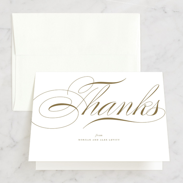 """Aqueous"" - Thank You Cards in Antique Gold by Jennifer Postorino."