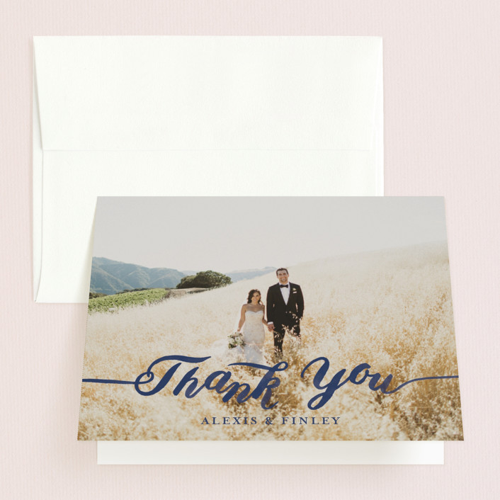 """Love"" - Thank You Cards in Navy by Four Wet Feet Studio."