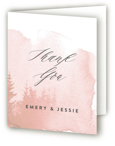 This is a portrait illustrative, painterly, rustic, pink Wedding Thank You Cards by Ariel Rutland called misty forest with Standard printing on Standard Cover in Card fold over (blank inside) format. Inspired by a misty morning above the treetops