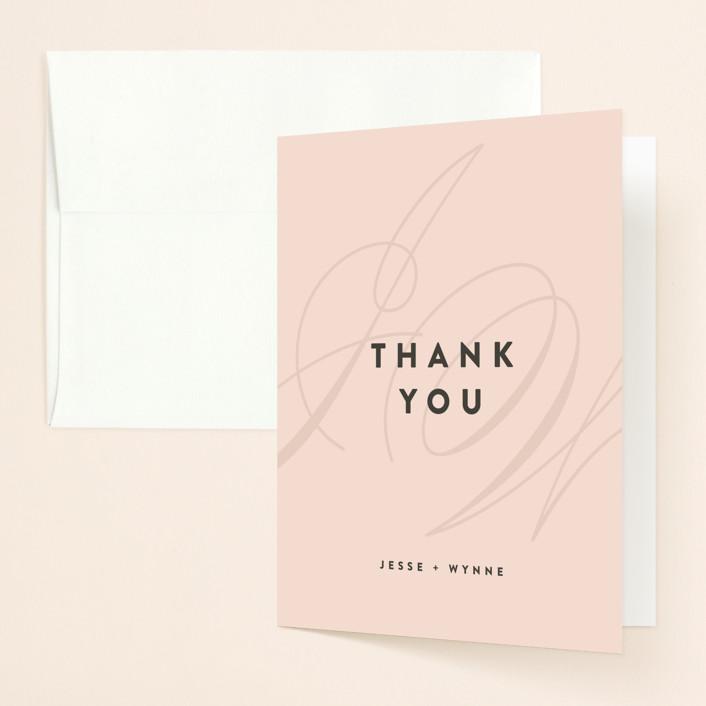 """""""Twirl Monogram A"""" - Modern Thank You Cards in Blush by Ariel Rutland."""