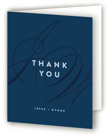 This is a portrait bold and typographic, modern, blue Wedding Thank You Cards by Ariel Rutland called Twirl Monogram A with Standard printing on Standard Cover in Card fold over (blank inside) format. Elegant and swirly initials accent this sophisticated ...